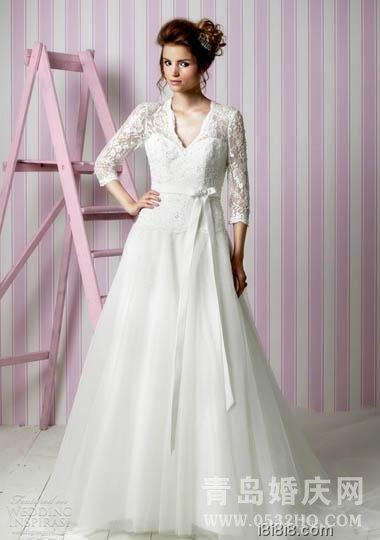 冬天结婚新娘长袖婚纱礼服