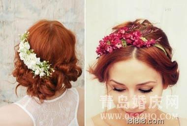 新娘头饰,将发饰斜插在挽发上端,打造出今年最流行的新娘发型