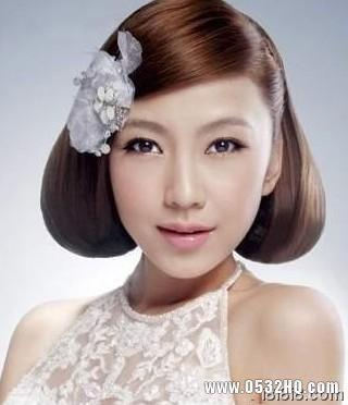 个性又好看的波波头新娘发型设计