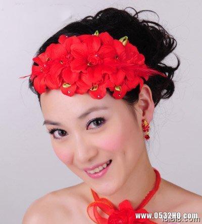 中式新娘发型 红色片花