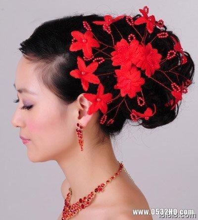 中式新娘发型 红色网纱