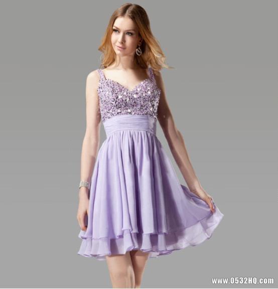 短款紫色伴娘礼服 彰显伴娘魅力气质