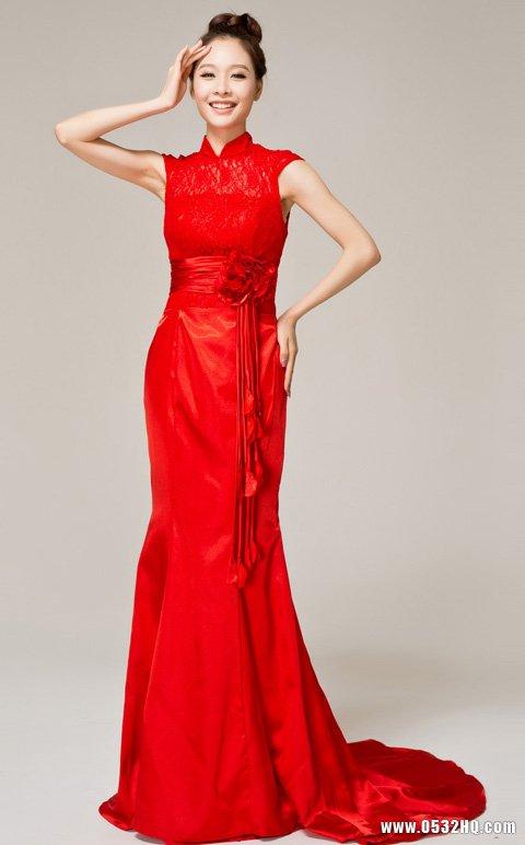 最新长款小拖尾红色时尚新娘礼服