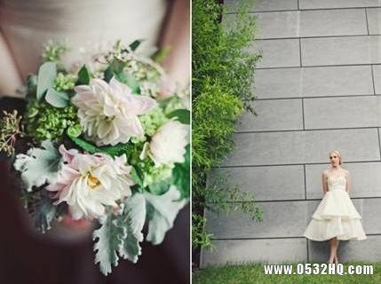 薄荷绿主题婚礼新娘手捧花