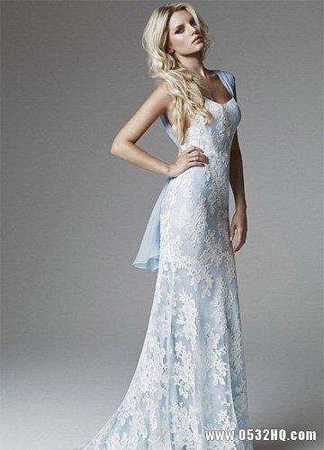 海蓝色新娘婚纱 打造冰清玉洁女神气质