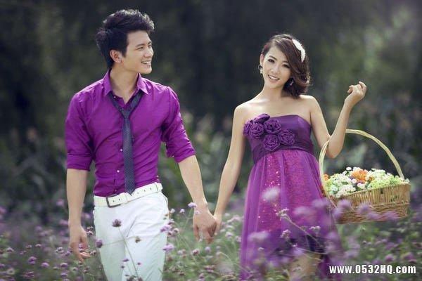 如何在婚纱摄影中营造紫色浪漫